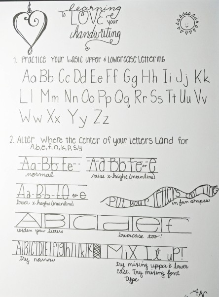 Handout from Lettering Class